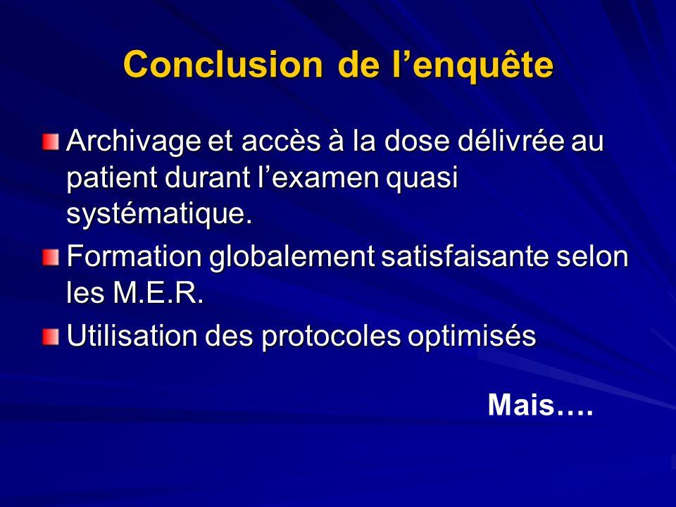 Conclusion de lenquête Archivage et accès à la dose délivrée au patient durant lexamen quasi systématique. Formation globalement satisfaisante selon l