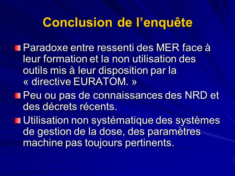 Conclusion de lenquête Paradoxe entre ressenti des MER face à leur formation et la non utilisation des outils mis à leur disposition par la « directive EURATOM.