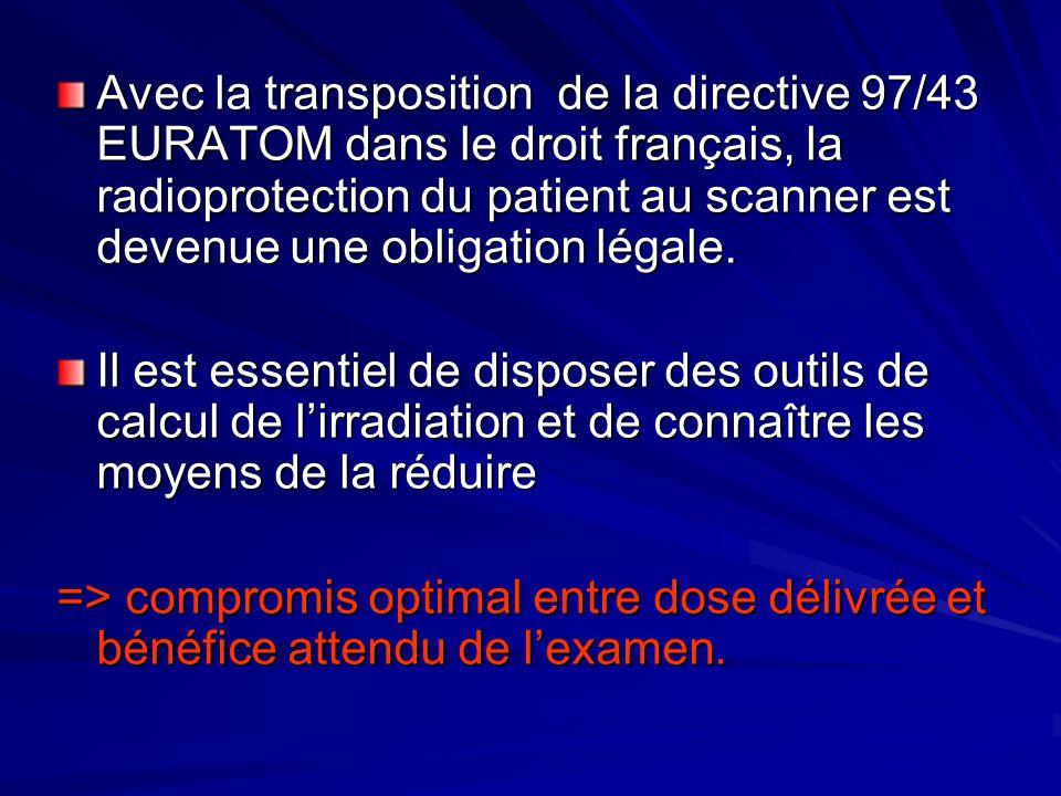 Avec la transposition de la directive 97/43 EURATOM dans le droit français, la radioprotection du patient au scanner est devenue une obligation légale