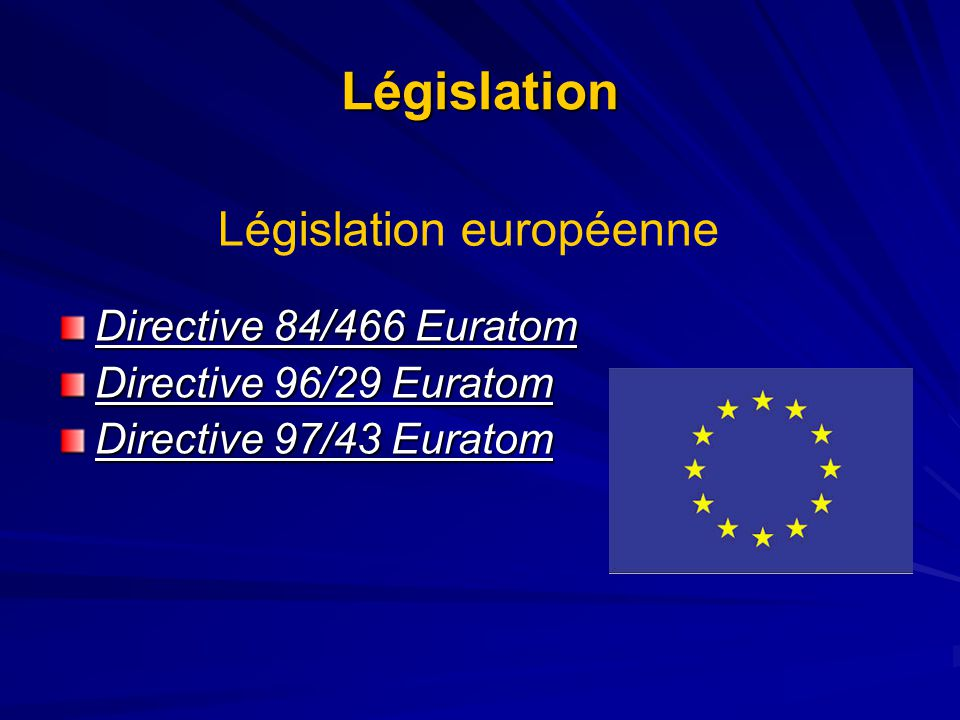Législation Directive 84/466 Euratom Directive 96/29 Euratom Directive 97/43 Euratom Législation européenne