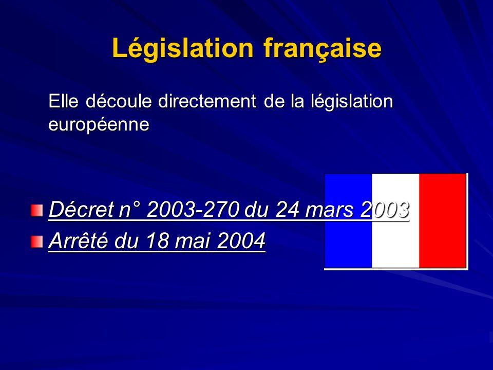 Législation française Elle découle directement de la législation européenne Décret n° 2003-270 du 24 mars 2003 Arrêté du 18 mai 2004
