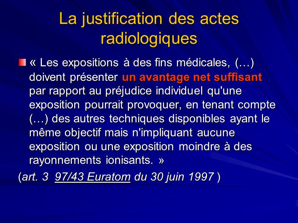 La justification des actes radiologiques « Les expositions à des fins médicales, (…) doivent présenter un avantage net suffisant par rapport au préjud