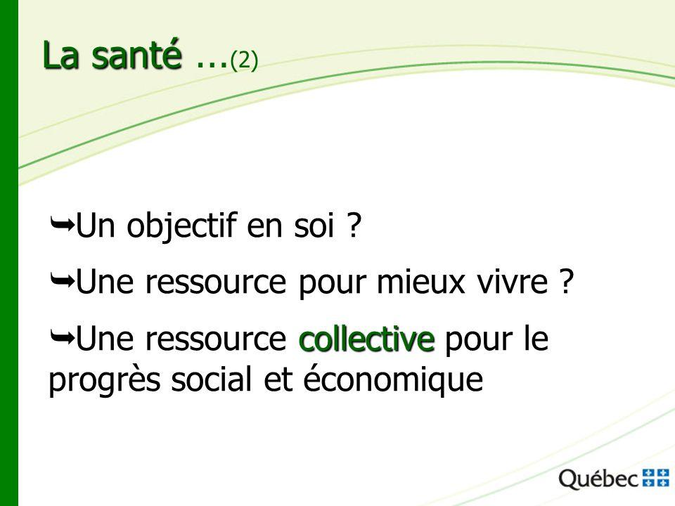 La santé La santé … (2) Un objectif en soi ? Une ressource pour mieux vivre ? collective Une ressource collective pour le progrès social et économique