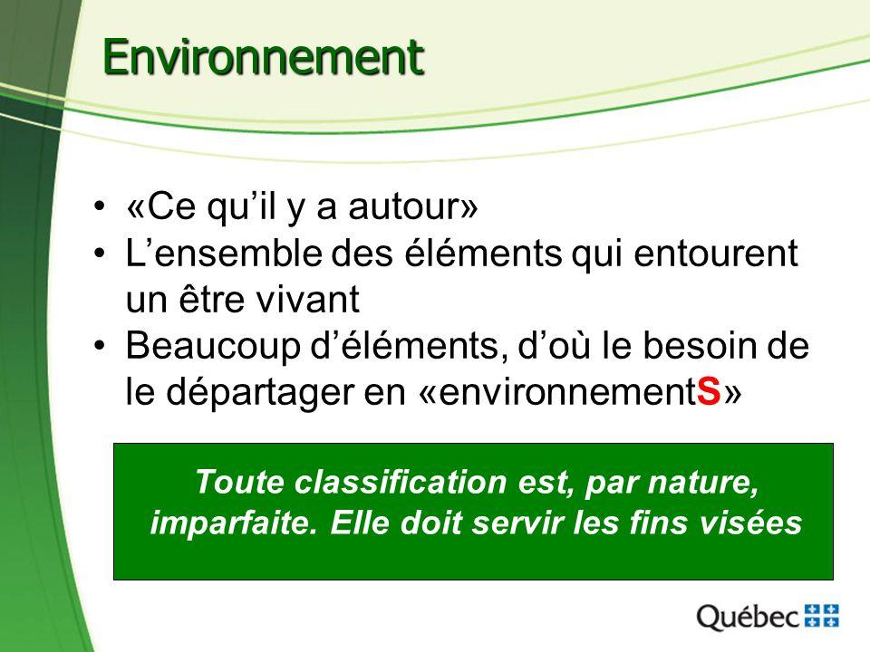31 Environnement «Ce quil y a autour» Lensemble des éléments qui entourent un être vivant Beaucoup déléments, doù le besoin de le départager en «envir