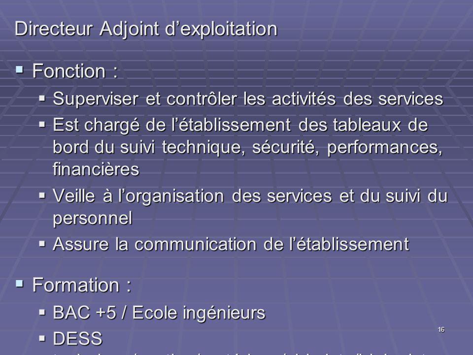 16 Directeur Adjoint dexploitation Fonction : Fonction : Superviser et contrôler les activités des services Superviser et contrôler les activités des