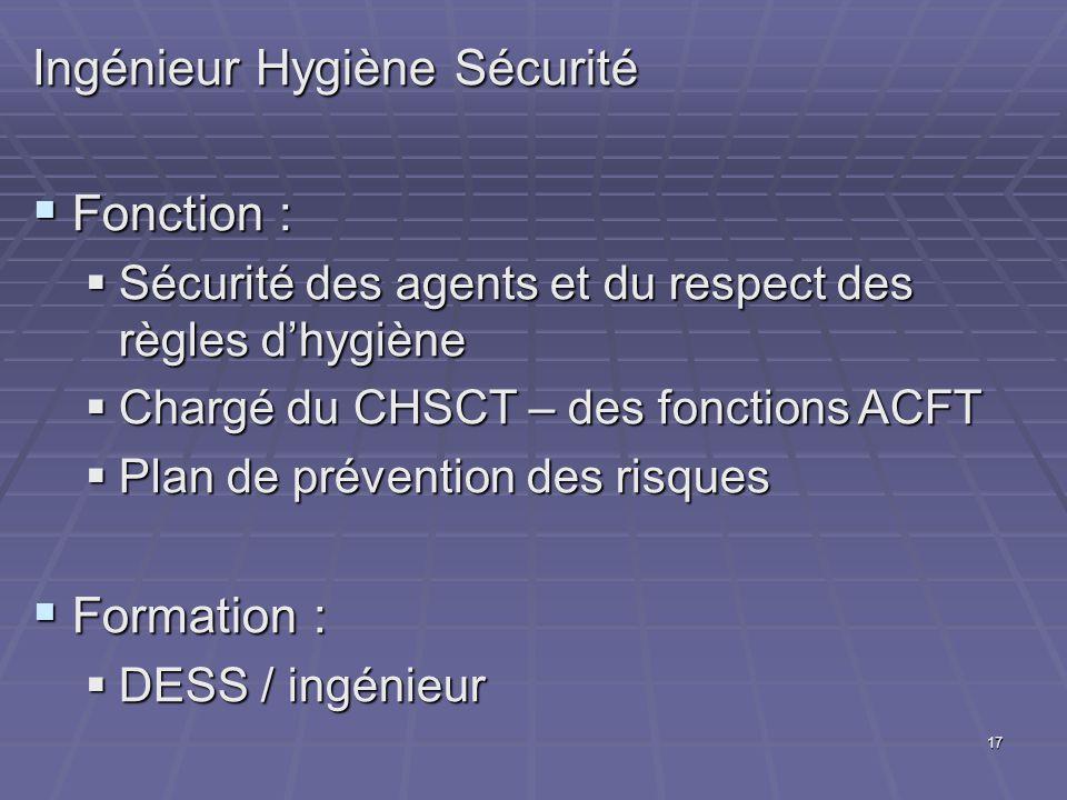 17 Ingénieur Hygiène Sécurité Fonction : Fonction : Sécurité des agents et du respect des règles dhygiène Sécurité des agents et du respect des règles