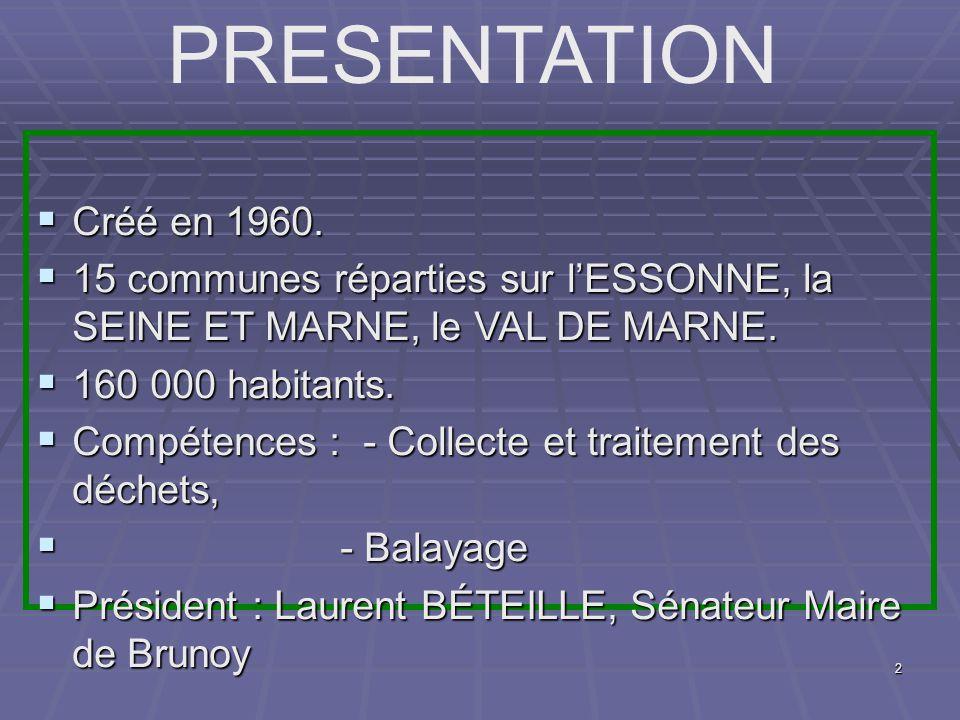 2 Créé en 1960. Créé en 1960. 15 communes réparties sur lESSONNE, la SEINE ET MARNE, le VAL DE MARNE. 15 communes réparties sur lESSONNE, la SEINE ET