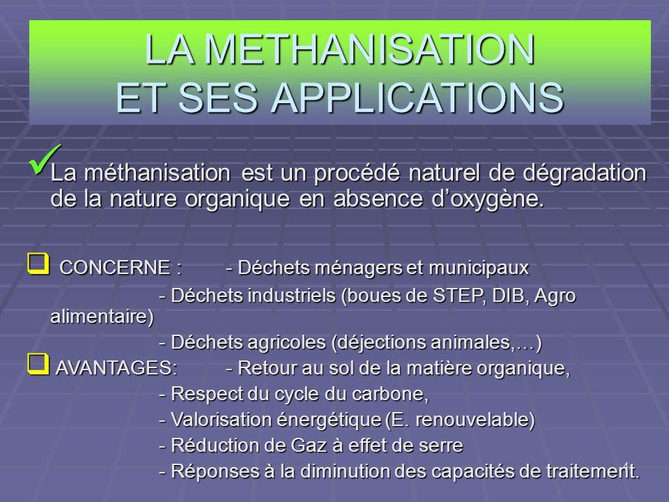 4 LA METHANISATION ET SES APPLICATIONS La méthanisation est un procédé naturel de dégradation de la nature organique en absence doxygène. La méthanisa