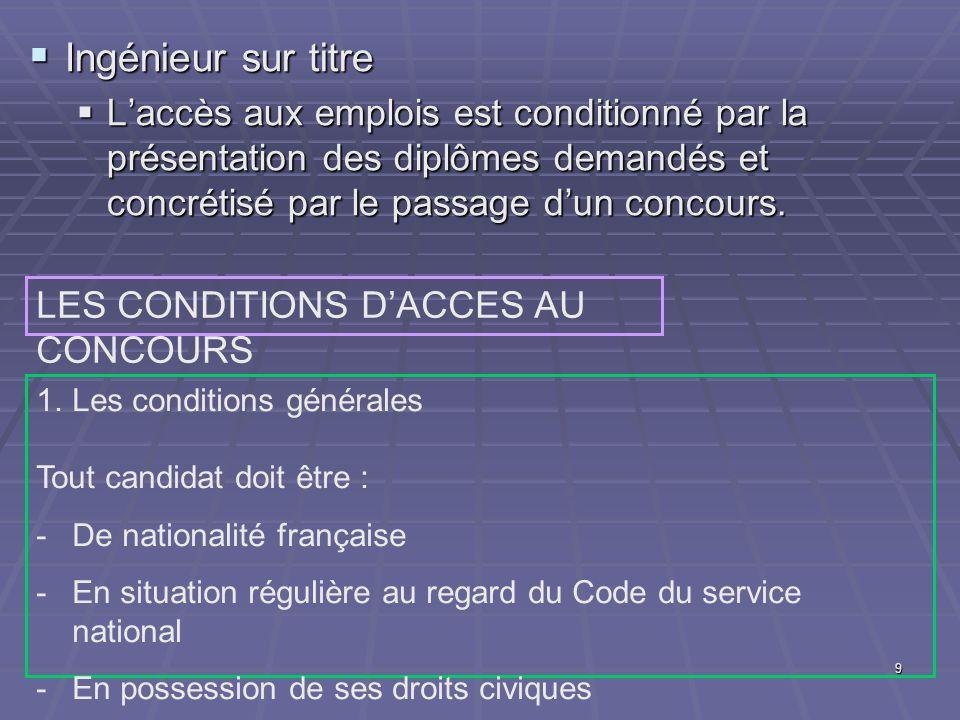 9 Ingénieur sur titre Ingénieur sur titre Laccès aux emplois est conditionné par la présentation des diplômes demandés et concrétisé par le passage dun concours.