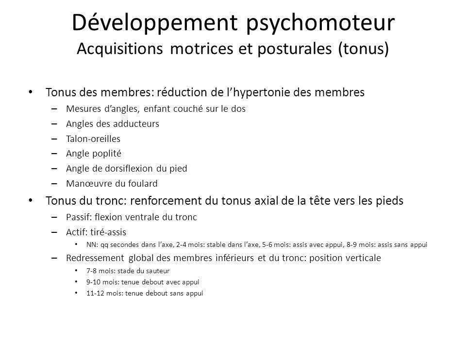 Développement psychomoteur Acquisitions motrices et posturales (tonus) Tonus des membres: réduction de lhypertonie des membres – Mesures dangles, enfa