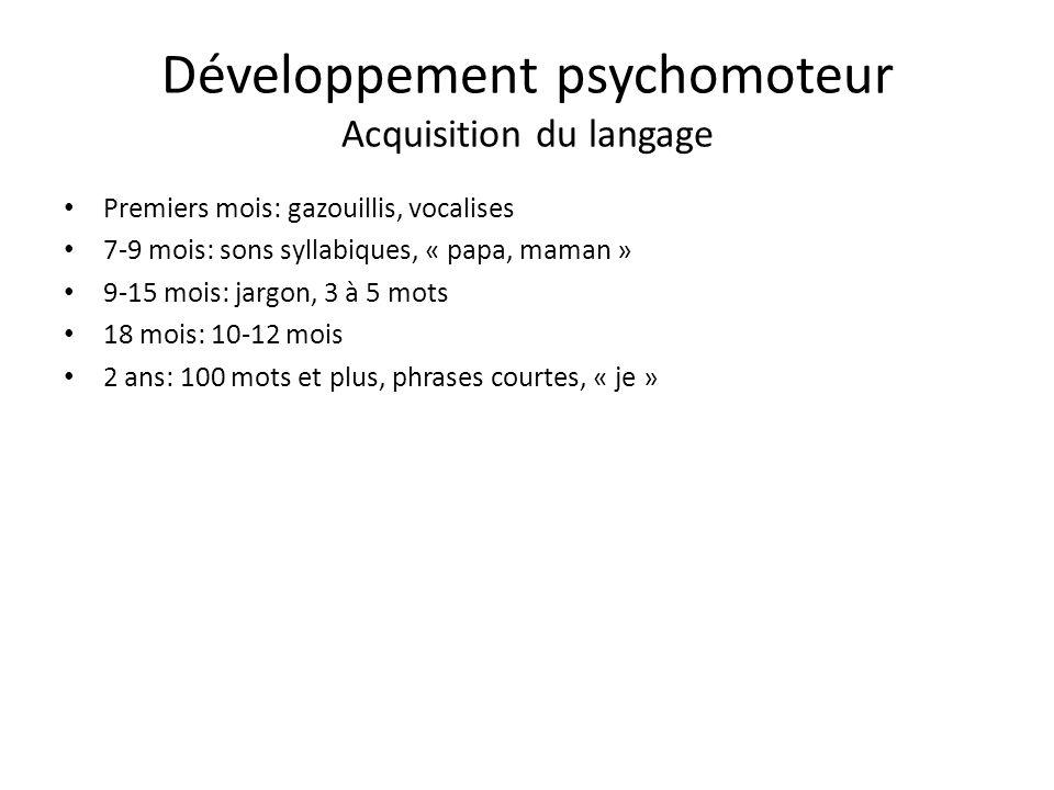 Développement psychomoteur Acquisition du langage Premiers mois: gazouillis, vocalises 7-9 mois: sons syllabiques, « papa, maman » 9-15 mois: jargon, 3 à 5 mots 18 mois: 10-12 mois 2 ans: 100 mots et plus, phrases courtes, « je »