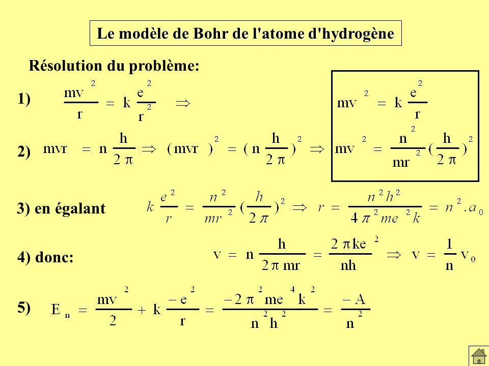 Le modèle de Bohr de l atome d hydrogène 1) 2) 3) en égalant Résolution du problème: 4) donc: 5) Le modèle de Bohr et atome H2