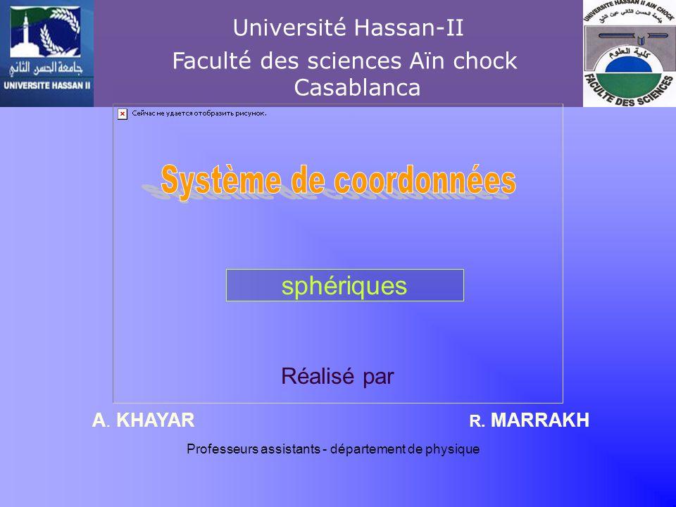 Réalisé par R. MARRAKHA. KHAYAR Khayar-marrakh Université Hassan-II Faculté des sciences Aïn chock Casablanca Professeurs assistants - département de