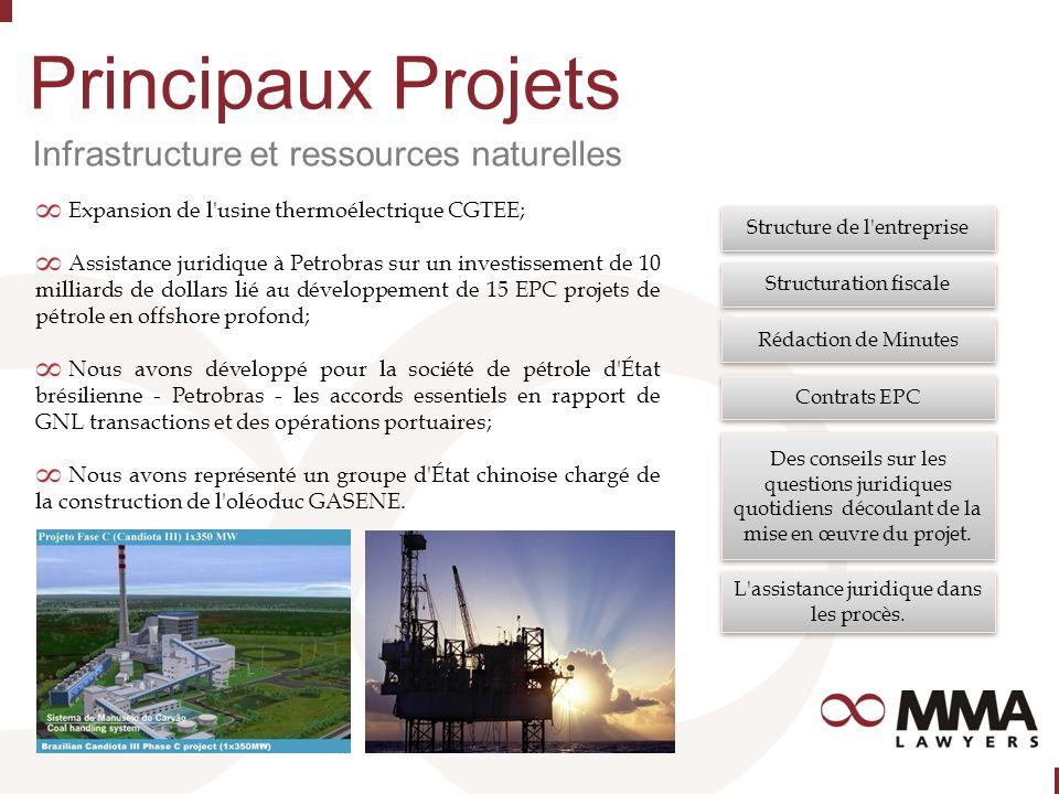 Principaux Projets Infrastructure et ressources naturelles Expansion de l usine thermoélectrique CGTEE; Assistance juridique à Petrobras sur un investissement de 10 milliards de dollars lié au développement de 15 EPC projets de pétrole en offshore profond; Nous avons développé pour la société de pétrole d État brésilienne - Petrobras - les accords essentiels en rapport de GNL transactions et des opérations portuaires; Nous avons représenté un groupe d État chinoise chargé de la construction de l oléoduc GASENE.