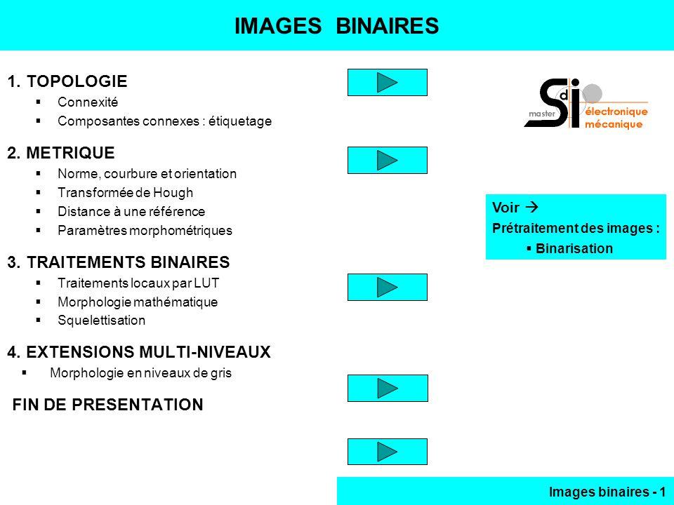 Images binaires - 32 TRAITEMENTS BINAIRES ( 4 ) x1x x01 x1x xx1 x01 x11 x11 x01 xx1 Enveloppe convexe, itérations jusquà stabilisation ( invariance ) de limage, ici convexité 8-C : P0 & P2 & P6 1 P0 & P1 & P7 & P6 1 P0 & P1 & P7 & P2 1 Contours lissés ( 01 vert, 10 orange ) Génération de LUT Déficience de convexité = { E(X) – X } Point W, ajouter rotation de /2