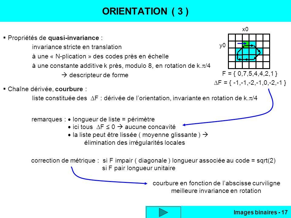 Images binaires - 17 ORIENTATION ( 3 ) Propriétés de quasi-invariance : invariance stricte en translation à une « N-plication » des codes près en éche