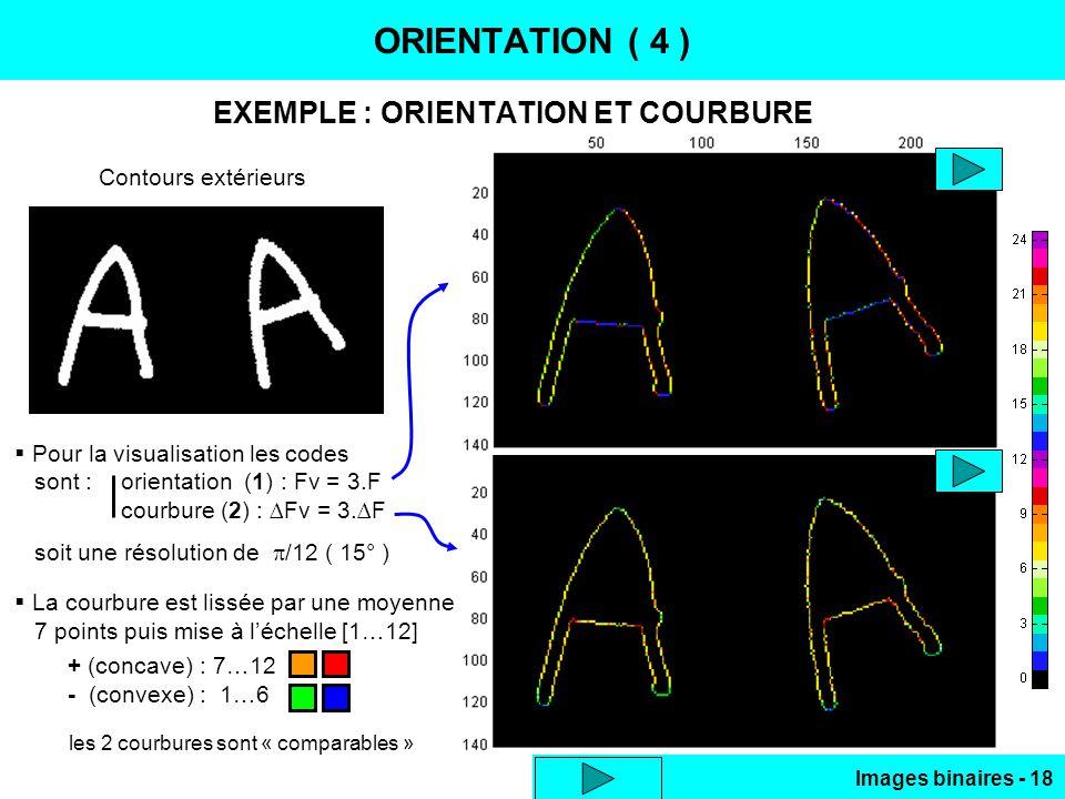 Images binaires - 18 ORIENTATION ( 4 ) EXEMPLE : ORIENTATION ET COURBURE Pour la visualisation les codes sont :orientation (1) : Fv = 3.F courbure (2)