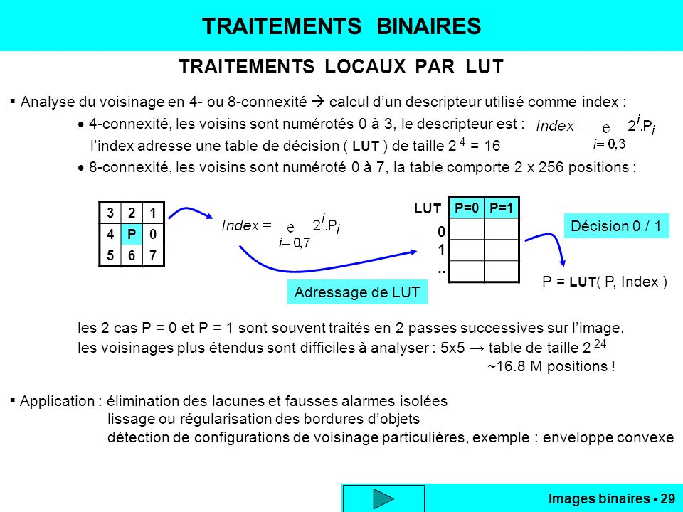 Images binaires - 29 TRAITEMENTS BINAIRES TRAITEMENTS LOCAUX PAR LUT Analyse du voisinage en 4- ou 8-connexité calcul dun descripteur utilisé comme in