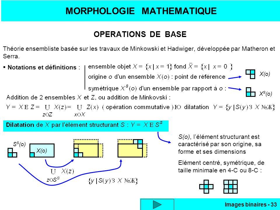Images binaires - 33 MORPHOLOGIE MATHEMATIQUE OPERATIONS DE BASE Théorie ensembliste basée sur les travaux de Minkowski et Hadwiger, développée par Matheron et Serra.
