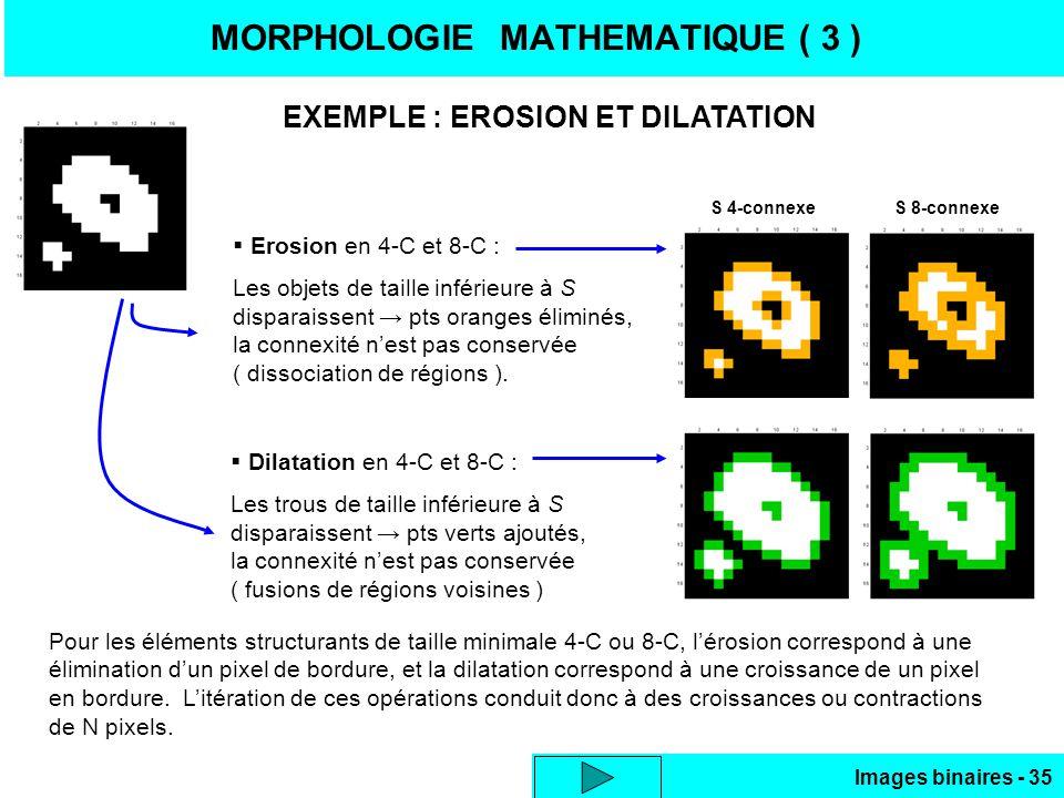 Images binaires - 35 MORPHOLOGIE MATHEMATIQUE ( 3 ) EXEMPLE : EROSION ET DILATATION Erosion en 4-C et 8-C : Les objets de taille inférieure à S disparaissent pts oranges éliminés, la connexité nest pas conservée ( dissociation de régions ).
