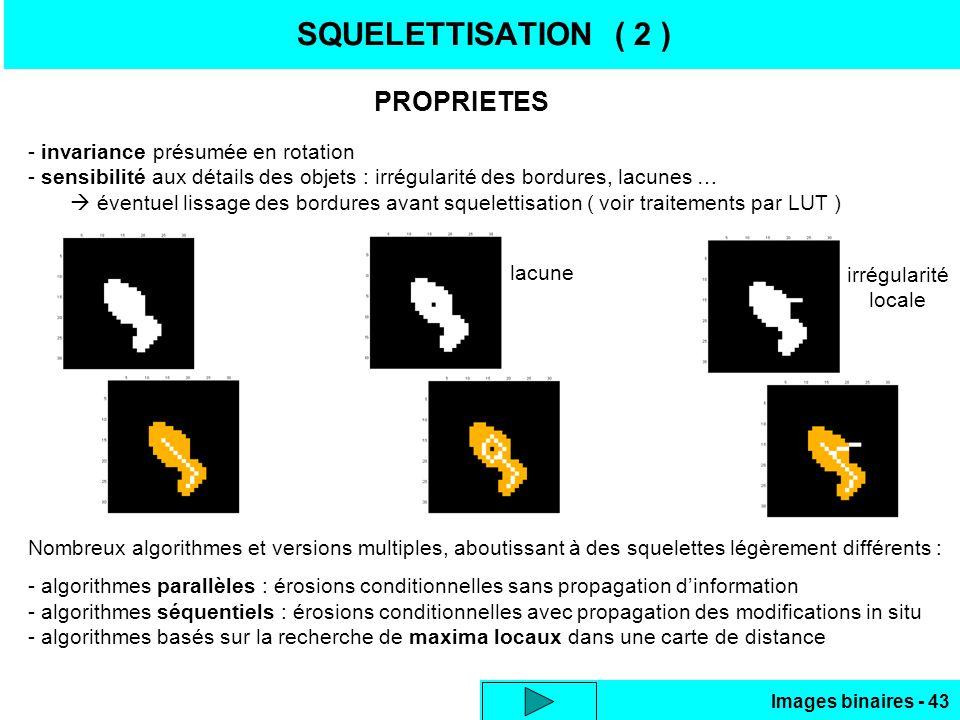 Images binaires - 43 SQUELETTISATION ( 2 ) PROPRIETES - invariance présumée en rotation - sensibilité aux détails des objets : irrégularité des bordures, lacunes … éventuel lissage des bordures avant squelettisation ( voir traitements par LUT ) Nombreux algorithmes et versions multiples, aboutissant à des squelettes légèrement différents : - algorithmes parallèles : érosions conditionnelles sans propagation dinformation - algorithmes séquentiels : érosions conditionnelles avec propagation des modifications in situ - algorithmes basés sur la recherche de maxima locaux dans une carte de distance lacune irrégularité locale