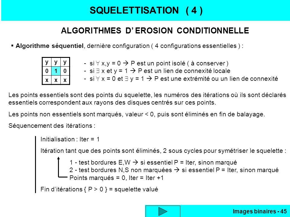 Images binaires - 45 SQUELETTISATION ( 4 ) ALGORITHMES D EROSION CONDITIONNELLE Algorithme séquentiel, dernière configuration ( 4 configurations essen