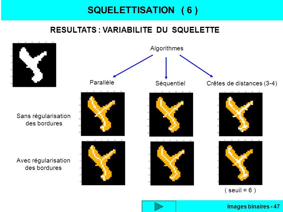 Images binaires - 47 SQUELETTISATION ( 6 ) RESULTATS : VARIABILITE DU SQUELETTE Sans régularisation des bordures Avec régularisation des bordures Algorithmes Parallèle SéquentielCrêtes de distances (3-4) ( seuil = 6 )