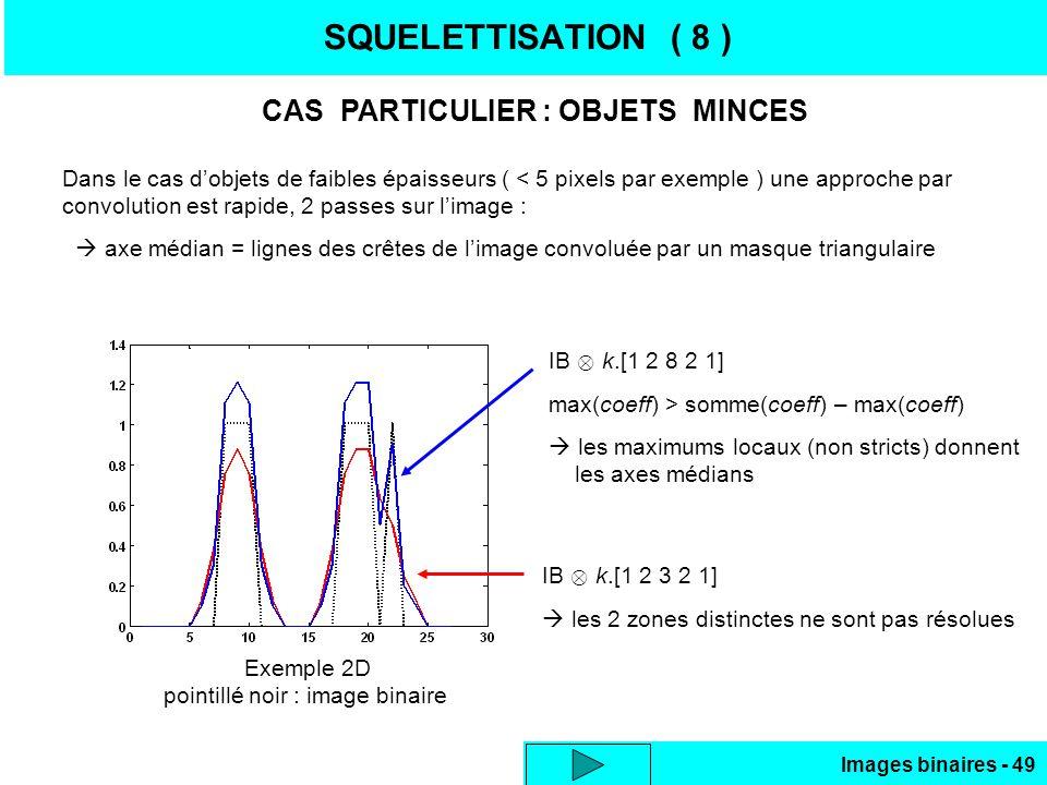 Images binaires - 49 SQUELETTISATION ( 8 ) CAS PARTICULIER : OBJETS MINCES Dans le cas dobjets de faibles épaisseurs ( < 5 pixels par exemple ) une ap