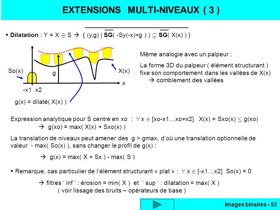 Images binaires - 53 EXTENSIONS MULTI-NIVEAUX ( 3 ) Dilatation : Y = X S { (y,g) | SG( -Sy(-x)+g ) ) SG( X(x) ) } x So(x)X(x) g(x) = dilaté( X(x) ) Même analogie avec un palpeur : La forme 3D du palpeur ( élément structurant ) fixe son comportement dans les vallées de X(x) comblement des vallées Expression analytique pour S centré en xo : x [xo-x1…xo+x2] X(x) + Sxo(x) g(xo) g(xo) = max( X(x) + Sxo(x) ) La translation de niveaux peut amener des g > gmax, doù une translation optionnelle de valeur - max( So(x) ), sans changer le profil de g(x) : g(x) = max( X + Sx ) - max( S ) Remarque, cas particulier de lélément structurant « plat » : x [-x1…x2] So(x) = 0 filtres inf : érosion = min( X ) et sup : dilatation = max( X ) ( voir lissage des bruits – opérateurs de base ) g -x1 x2