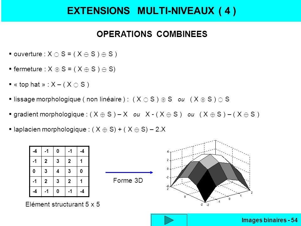 Images binaires - 54 EXTENSIONS MULTI-NIVEAUX ( 4 ) ouverture : X S = ( X S ) S ) fermeture : X S = ( X S ) S) « top hat » : X – ( X S ) lissage morph