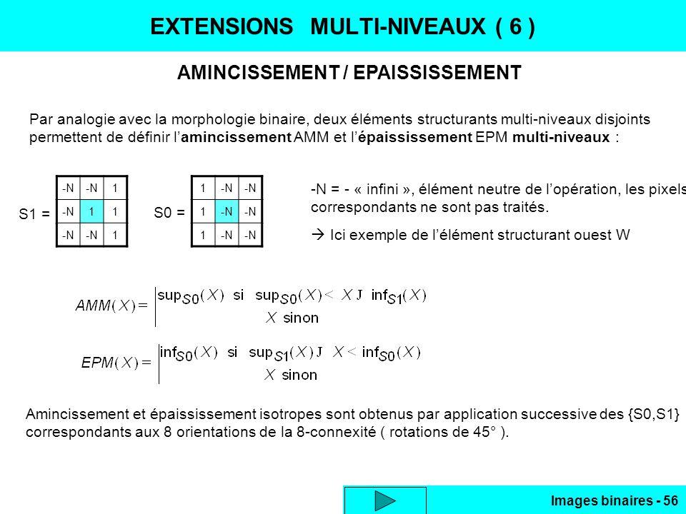 Images binaires - 56 EXTENSIONS MULTI-NIVEAUX ( 6 ) AMINCISSEMENT / EPAISSISSEMENT Par analogie avec la morphologie binaire, deux éléments structurant
