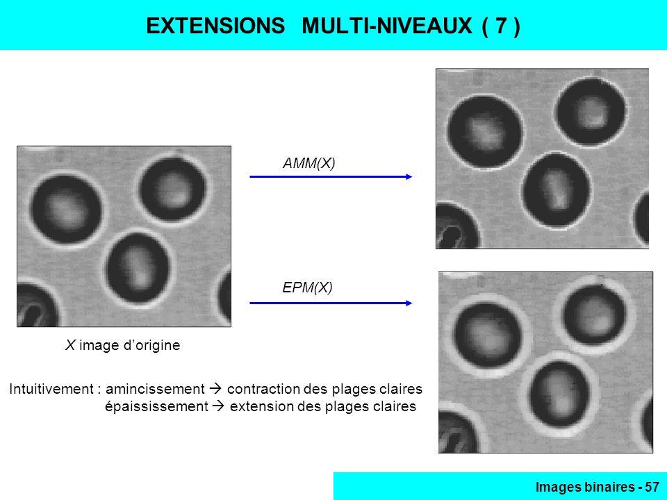 Images binaires - 57 Intuitivement : amincissement contraction des plages claires épaississement extension des plages claires EXTENSIONS MULTI-NIVEAUX