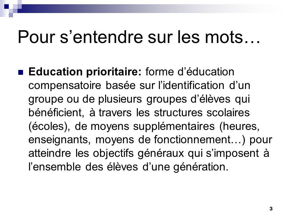 3 Pour sentendre sur les mots… Education prioritaire: forme déducation compensatoire basée sur lidentification dun groupe ou de plusieurs groupes délè