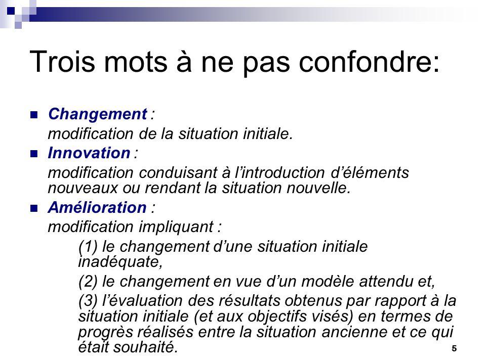 5 Trois mots à ne pas confondre: Changement : modification de la situation initiale. Innovation : modification conduisant à lintroduction déléments no