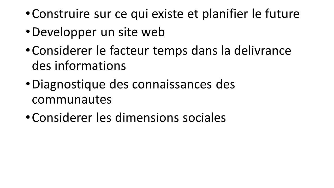 Construire sur ce qui existe et planifier le future Developper un site web Considerer le facteur temps dans la delivrance des informations Diagnostique des connaissances des communautes Considerer les dimensions sociales
