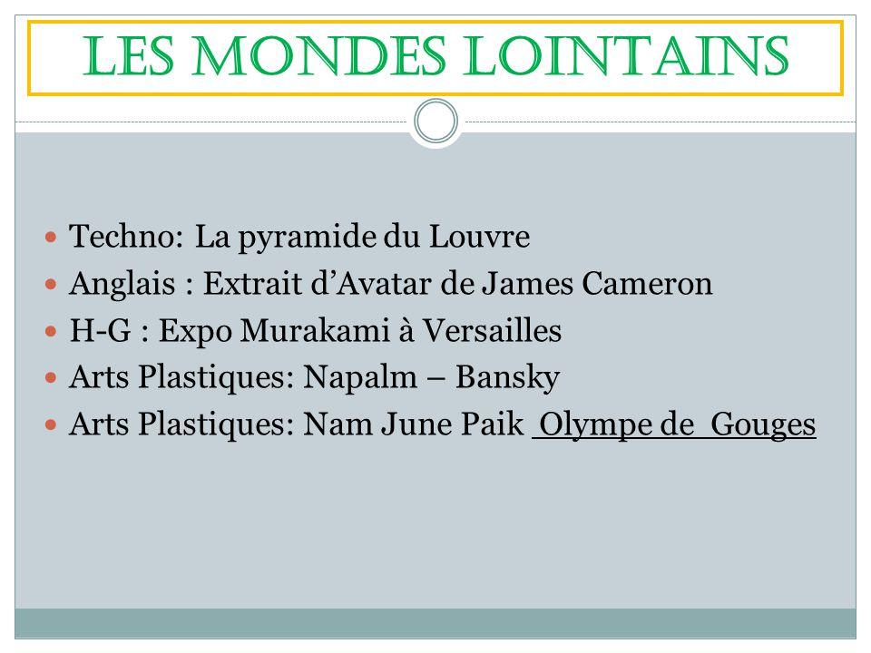 LES MONDES LOINTAINS Techno: La pyramide du Louvre Anglais : Extrait dAvatar de James Cameron H-G : Expo Murakami à Versailles Arts Plastiques: Napalm