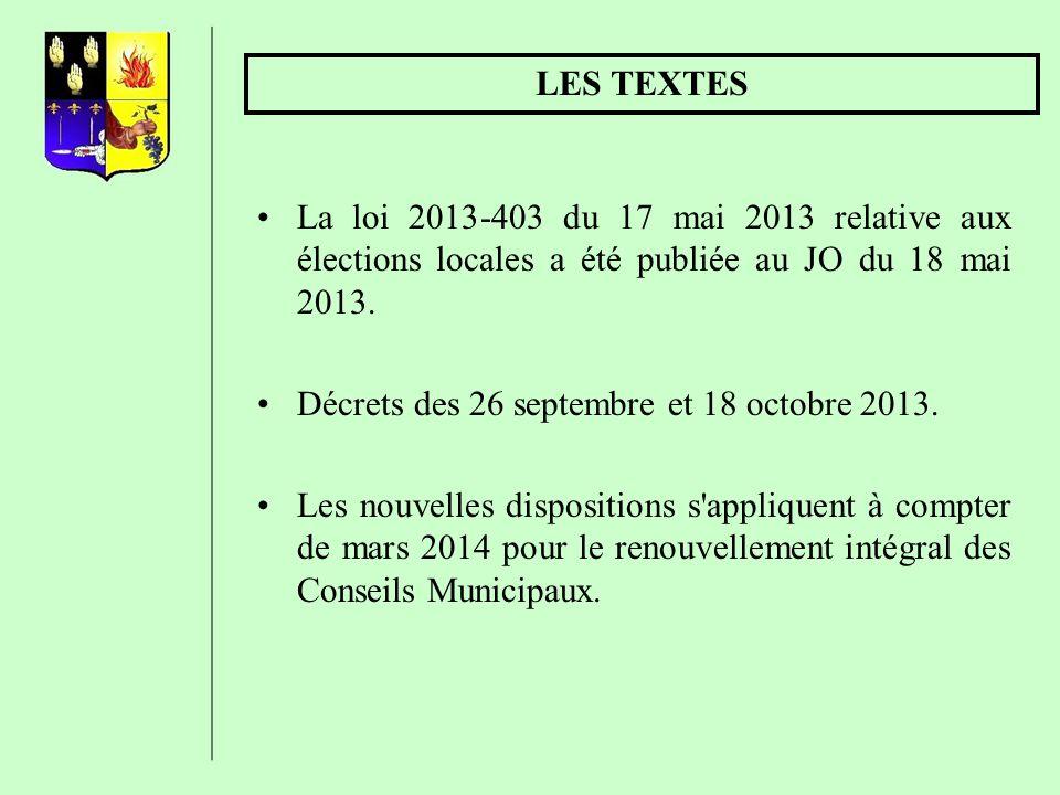LES DATES Conseil municipal et Conseil communautaire 1er tour 23 mars 2014 2ème tour 30 mars 2014 ELECTION DU MAIRE ET DES ADJOINTS Au plus tôt le vendredi, au plus tard le dimanche qui suit l élection.