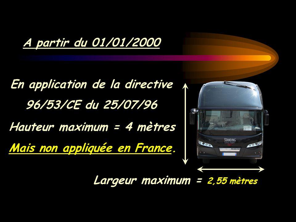 A partir du 01/01/2000 En application de la directive 96/53/CE du 25/07/96 Largeur maximum = 2,55 mètres Largeur maximum = 2,55 mètres Hauteur maximum