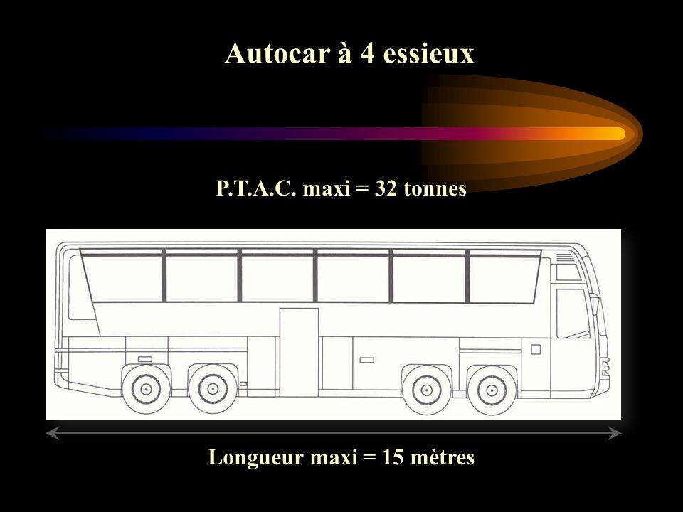 Ensemble de véhicule (Autocar + remorque) (Autocar + remorque) Ensemble de véhicule (Autocar + remorque) (Autocar + remorque) Longueur maxi = 18,75 mètres Véhicule réceptionné après le 01/10/1998 Masse tractable maximum = 3,5 tonnes Si PTAC de la remorque > 500 kg carte grise distincte Si PTAC de la remorque > 750 kg Permis ED + freinage obligatoire P.T.R.A : 38 t maximum