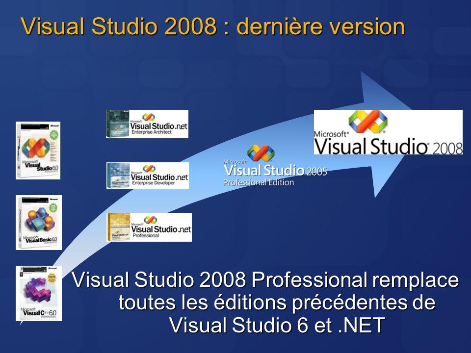 Visual Studio 2008 : dernière version Visual Studio 2008 Professional remplace toutes les éditions précédentes de Visual Studio 6 et.NET