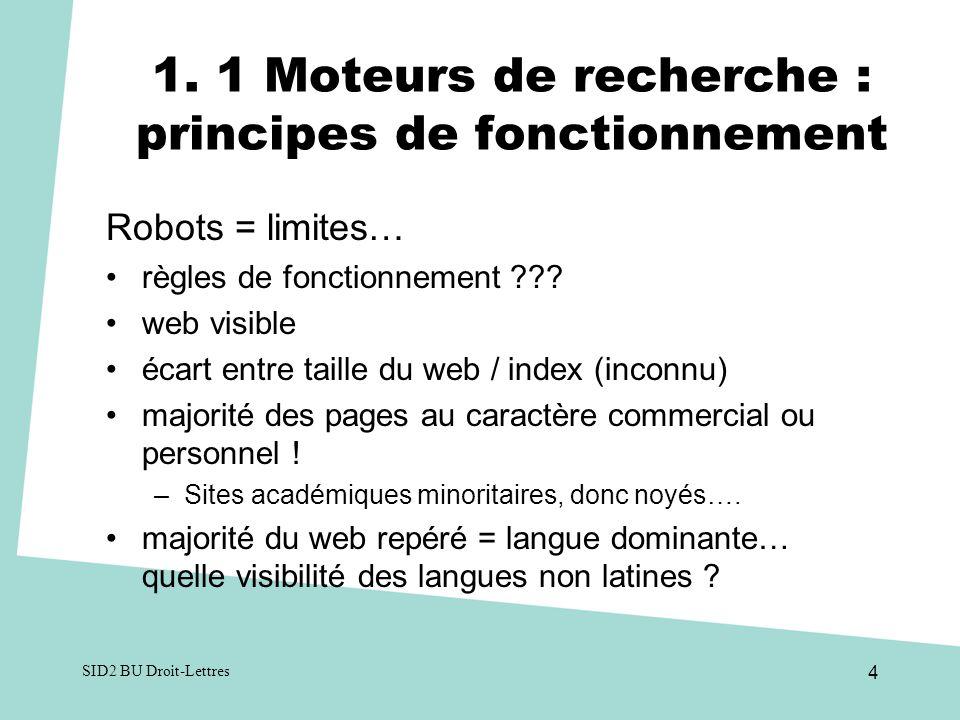 1. 1 Moteurs de recherche : principes de fonctionnement Robots = limites… règles de fonctionnement ??? web visible écart entre taille du web / index (