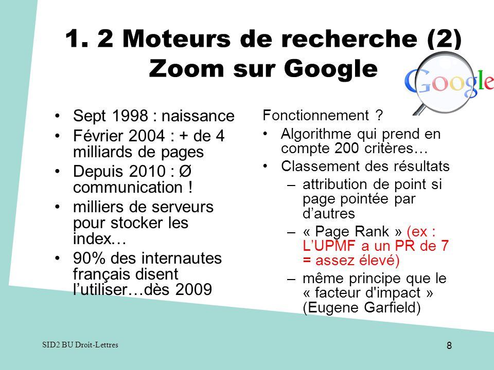 1. 2 Moteurs de recherche (2) Zoom sur Google Sept 1998 : naissance Février 2004 : + de 4 milliards de pages Depuis 2010 : Ø communication ! milliers