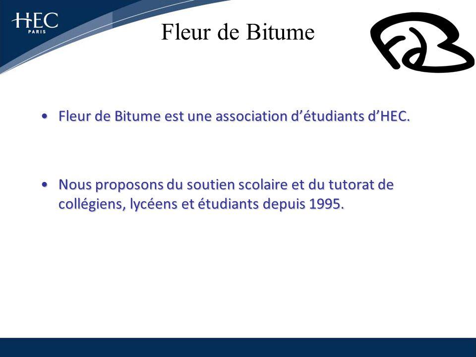 Fleur de Bitume Fleur de Bitume est une association détudiants dHEC.Fleur de Bitume est une association détudiants dHEC. Nous proposons du soutien sco