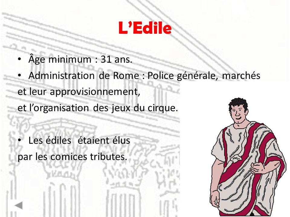 LEdile Âge minimum : 31 ans. Administration de Rome : Police générale, marchés et leur approvisionnement, et lorganisation des jeux du cirque. Les édi
