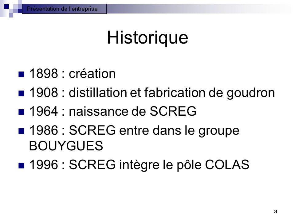 3 Historique 1898 : création 1908 : distillation et fabrication de goudron 1964 : naissance de SCREG 1986 : SCREG entre dans le groupe BOUYGUES 1996 :
