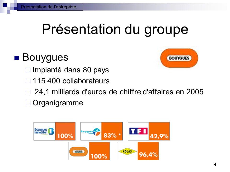 4 Présentation du groupe Bouygues Implanté dans 80 pays 115 400 collaborateurs 24,1 milliards d'euros de chiffre d'affaires en 2005 Organigramme