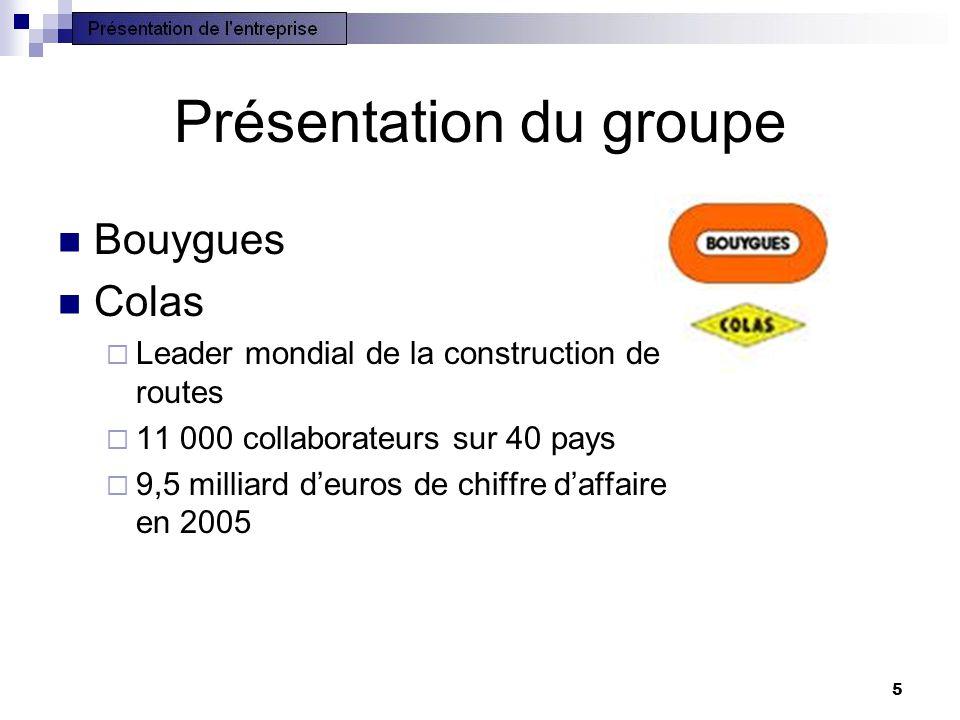 5 Présentation du groupe Bouygues Colas Leader mondial de la construction de routes 11 000 collaborateurs sur 40 pays 9,5 milliard deuros de chiffre d