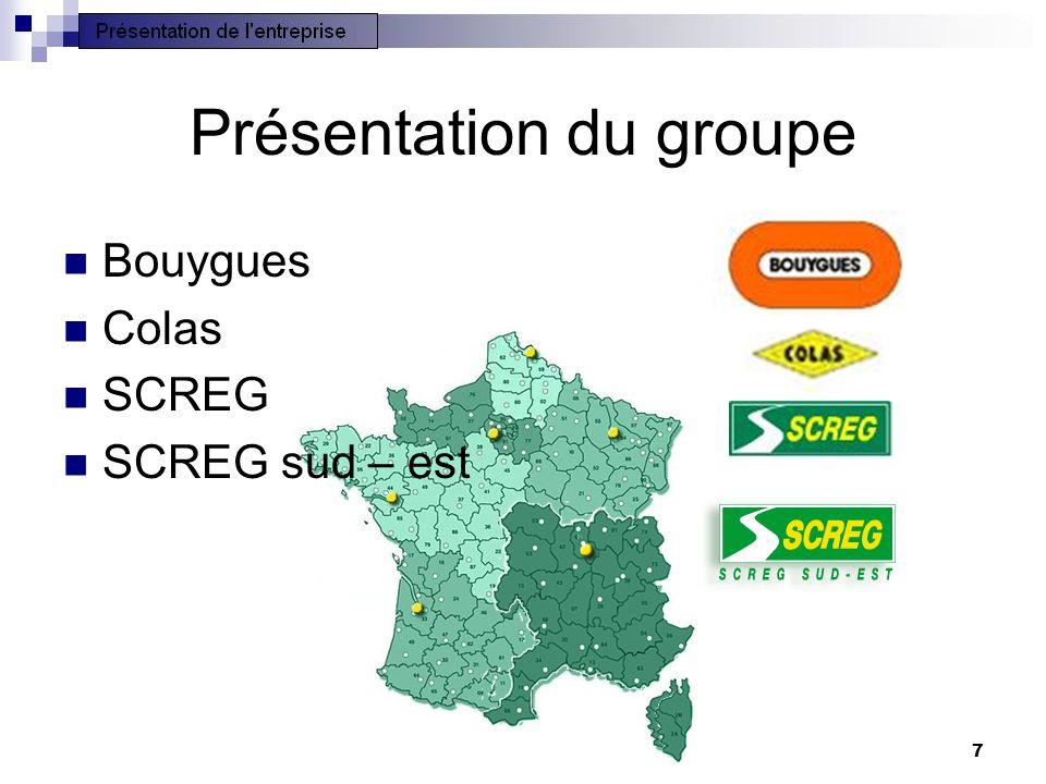7 Présentation du groupe Bouygues Colas SCREG SCREG sud – est