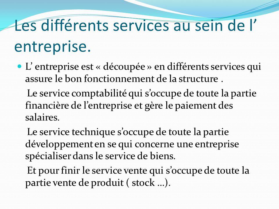 Les différents services au sein de l entreprise. L entreprise est « découpée » en différents services qui assure le bon fonctionnement de la structure