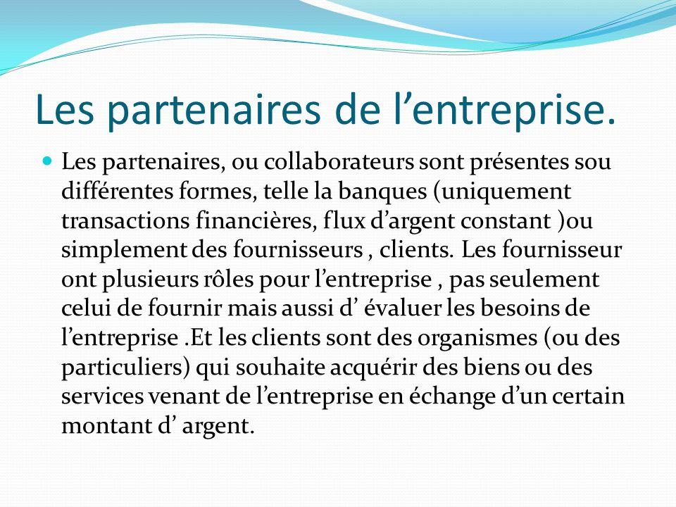 Les partenaires de lentreprise. Les partenaires, ou collaborateurs sont présentes sou différentes formes, telle la banques (uniquement transactions fi